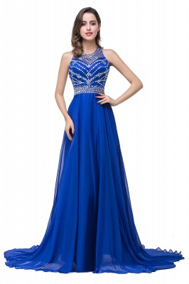 ELLA | A-line Crew Floor-length Sleeveless Tulle Prom Dresses with Crystal Beads_4