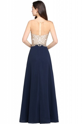ARIELLA | A-line Scoop Dark Navy Chiffon Evening Dresses with Appliques_5