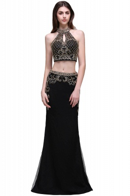 BRAELYN | Sheath Halter Black Two Pieces Prom Dresses With Crystal_1