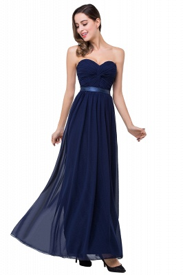 Elegantes A-Linie Chiffon Brautjungfer Kleid | Schulterfrei Brautjungfernkleider Bodenlang_3