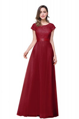 ELLIANA | A-line Short Sleeve Chiffon Bridesmaid Dresses with Ribbon Bow Sash_3
