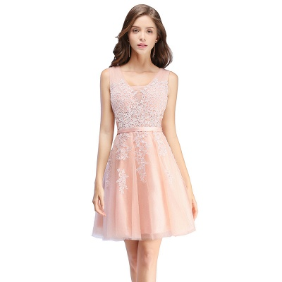 ADDILYNN   A-ligne longueur au genou Tulle robe de bal avec des appliques_2