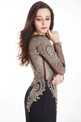 Crystal   Sexy Mermaid Lace Appliques Long Sleeves Prom Dresses with Beadings_13