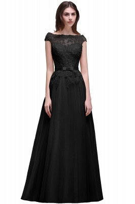 AUBREE | A-line Floor-Length Tulle Prom Dress With Lace Appliques_7