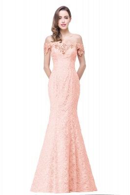 Schlichte Spitze Abendkleider Meerjungfrau | Schulterfrei Abendmode Perlen Bodenlang_3