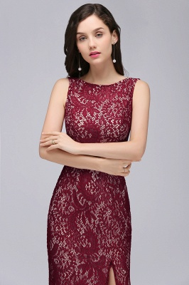 DULCE | Mermaid Crew Floor-length Sleeveless Burgundy Lace Prom Dresses_5