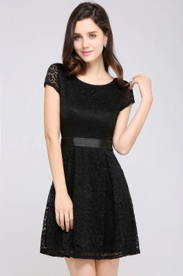 ARMANI | A-line Scoop Black Lace Homecoming Dress with Sash_10