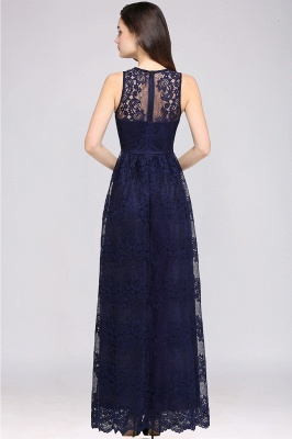 CHAYA | Sheath V-neck Floor-length Lace Navy Blue Prom Dress_10