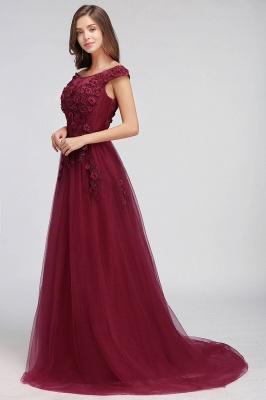 EMBER | A-line Off-shoulder Floor-length Tulle Appliques Prom Dresses_10