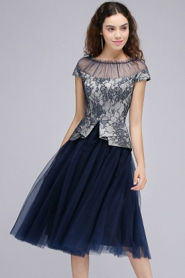 BRIDGET | A-Line Round Neck Knee-Length Tulle Lace Dark Navy Homecoming Dresses_2