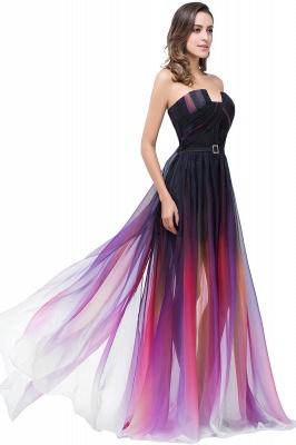 ELISABETH | A-line Floor-length Strapless Tulle Prom Dresses with Sash_5