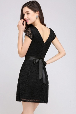 ARMANI | A-line Scoop Black Lace Homecoming Dress with Sash_12