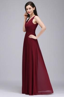 ALEXA | Gaine col en v en mousseline bordeaux longues robes de soirée_3