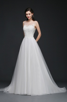 BAILEE | A-line Scoop Tulle Elegant Wedding Dress With Lace_8
