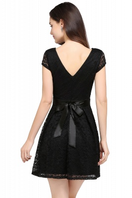 ARMANI | A-line Scoop Black Lace Homecoming Dress with Sash_9