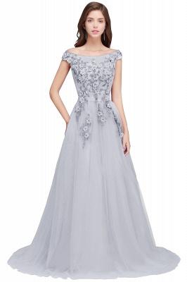 EMBER | A-line Off-shoulder Floor-length Tulle Appliques Prom Dresses_5