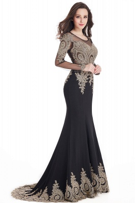Crystal   Sexy Mermaid Lace Appliques Long Sleeves Prom Dresses with Beadings_12