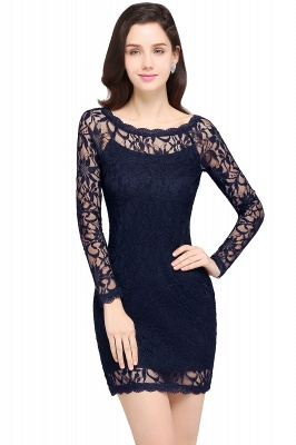Sexy Black Lace Long Sleeves Mermaid Prom Dresses_6