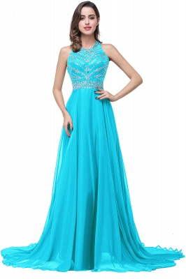 ELLA | A-line Crew Floor-length Sleeveless Tulle Prom Dresses with Crystal Beads_2