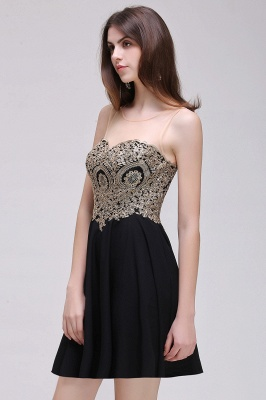 CAITLIN | A-line Short Chiffon Black Homecoming Dresses with Appliques_11