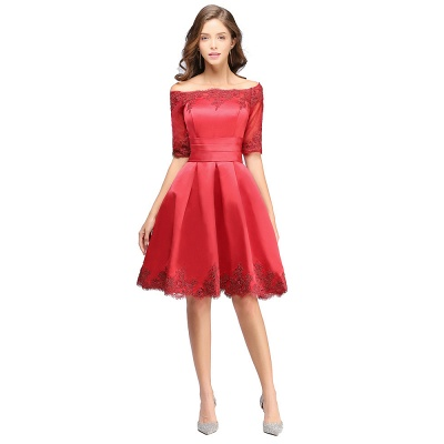 ELSIE | A-line Off-shoulder Half Sleeves Short Lace Appliques Prom Dresses_2