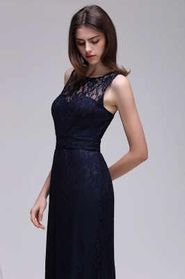 CHARLEY | Sheath Illusion Floor length Elegant Navy Blue Prom Dress_1