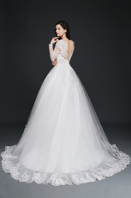 AMAYA | Ball Gown V-Neck Tulle Newest Wedding Dresses with Lace_6