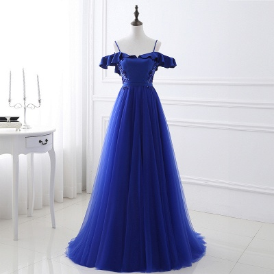 Stunning Off the shoulder blue Tulle ball gown prom dresses_5