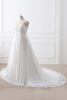 ALIVIA | Elegantes vestidos de novia de gasa de línea correas apliques con cordones vestidos de novia_3
