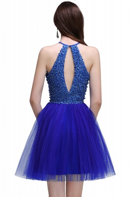 CAITLYN | A-line Halter Neck Short Tulle Royal Blue Homecoming Dresses с бисером_3