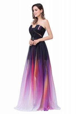 ELISABETH | A-line Floor-length Strapless Tulle Prom Dresses with Sash_6