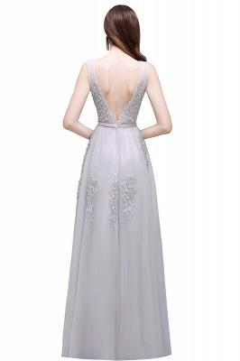 ADDYSON | Uma linha do assoalho-comprimento vestido de dama de tule com apliques_11