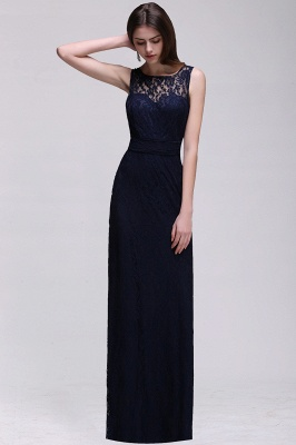 CHARLEY | Sheath Illusion Floor length Elegant Navy Blue Prom Dress_2