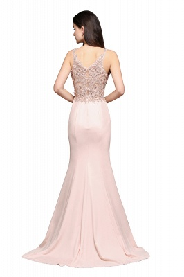 ALLYSON   Sirène v-cou perle rose robes de bal avec des perles_3