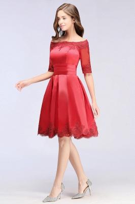 ELSIE | A-line Off-shoulder Half Sleeves Short Lace Appliques Prom Dresses_10
