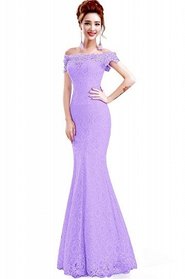 Schlichte Spitze Abendkleider Meerjungfrau | Schulterfrei Abendmode Perlen Bodenlang_6