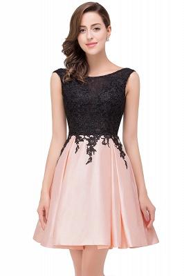 EVA | Apliques de encaje sin mangas una línea vestidos de baile cortos_8