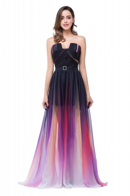 ELISABETH | A-line Floor-length Strapless Tulle Prom Dresses with Sash_4