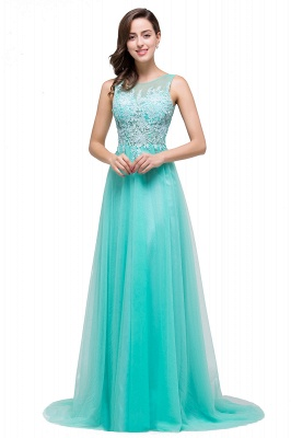 ABRIL   A-line Court Train Tulle Evening Dress with Appliques_8
