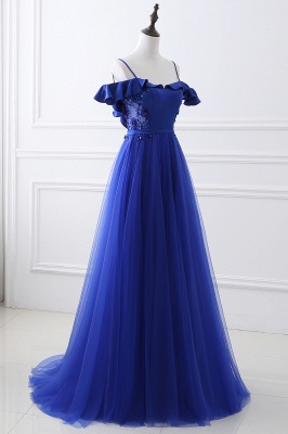 Stunning Off the shoulder blue Tulle ball gown prom dresses_4