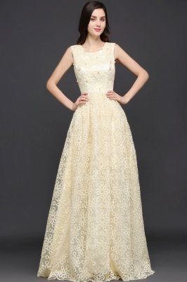 AYA | A-line Scoop Floor Length Evening Dress With Lace_7