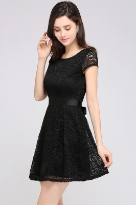 ARMANI | A-line Scoop Black Lace Homecoming Dress with Sash_13