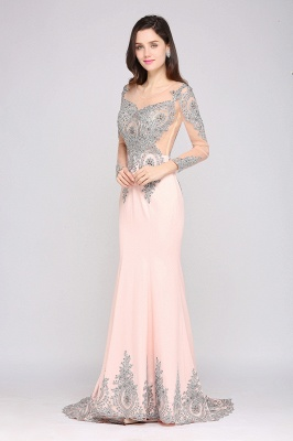Long Sleeve Beads Appliques Mermaid Court Train Illusion Evening Dress