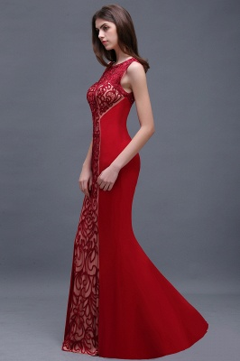BEATRICE | Sheath Round Neck Floor-Length Burgundy Prom Dressses With Applique_5