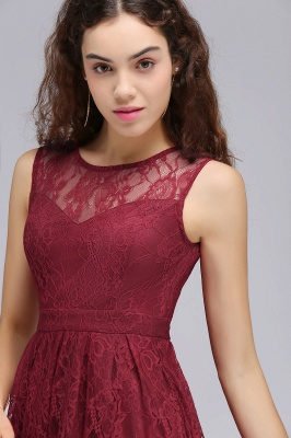 BRIELLE | A-Line Round Neck Short Lace Burgundy Homecoming Dresses_7