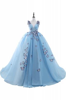 BREANNA | Prinzessin V-Ausschnitt Kapelle Zug Chiffon Sky Blue Prom Kleider mit Schmetterling Applique_1