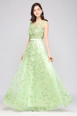 ARDEN | A-line Floor Length Tulle Green Prom Dresses with Appliques_6