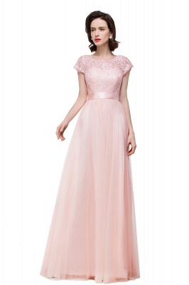 ELLIANA | A-line Short Sleeve Chiffon Bridesmaid Dresses with Ribbon Bow Sash_2