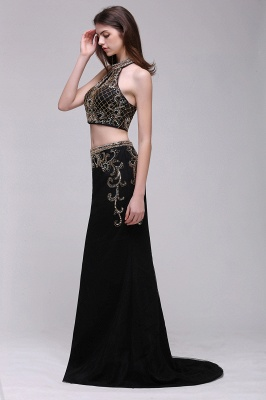BRAELYN | Sheath Halter Black Two Pieces Prom Dresses With Crystal_3
