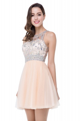 ELISA | A-line Crew Sleeveless Tulle Short Prom Dresses with Beadings_5